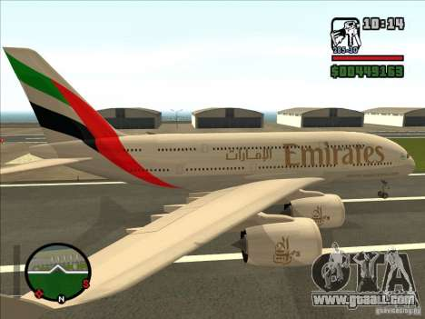 Boeing Emirates Airlines for GTA San Andreas left view