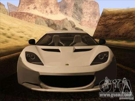 Lotus Evora for GTA San Andreas upper view