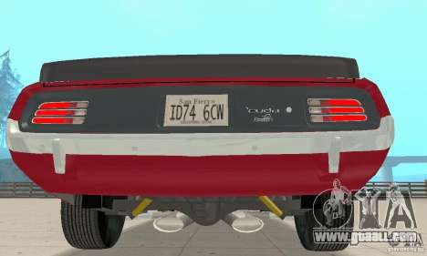 Plymouth Cuda AAR 340 1970 for GTA San Andreas back view