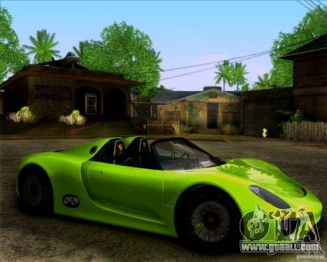 Porsche 918 Spyder Concept Study for GTA San Andreas back left view