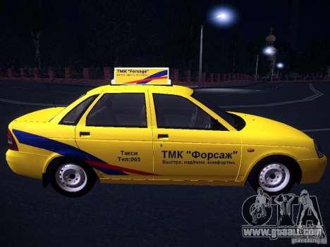 LADA 2170 Priora Taxi TMK Afterburner for GTA San Andreas inner view