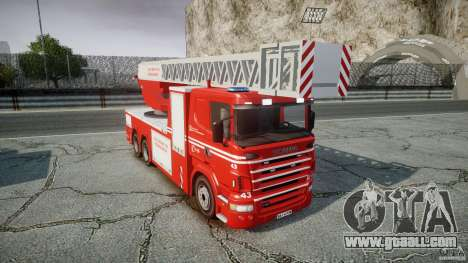 Scania Fire Ladder v1.1 Emerglights blue-red ELS for GTA 4 inner view
