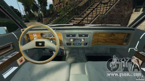 Cadillac Fleetwood Brougham Delegance 1986 for GTA 4 inner view