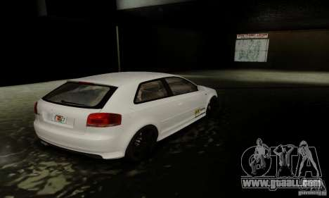 Audi S3 for GTA San Andreas bottom view