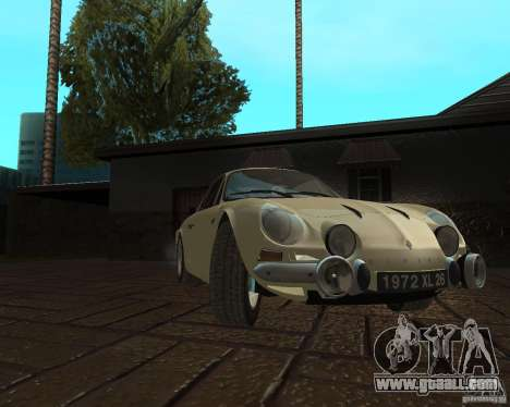 Renault Alpine 110 for GTA San Andreas back left view