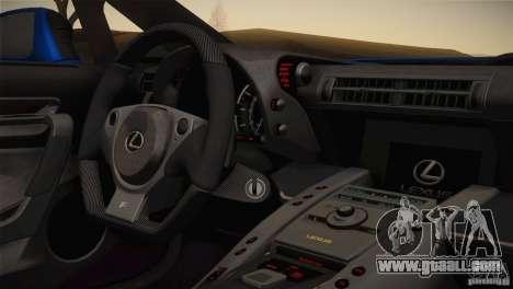Lexus LFA Nürburgring Performance Package 2011 for GTA San Andreas inner view