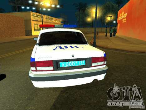 GAZ 31105 Police for GTA San Andreas back left view