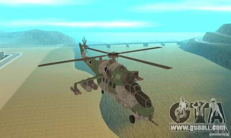 A helicopter from the Conflict Global Shtorm for GTA San Andreas back view