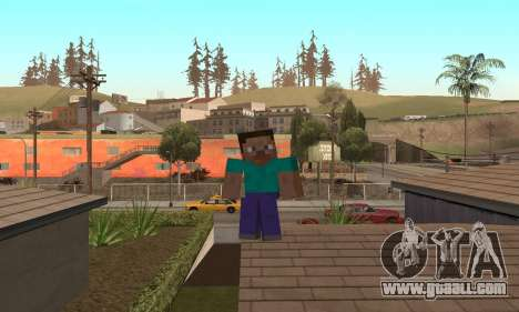 Steve from the game Minecraft skin for GTA San Andreas sixth screenshot