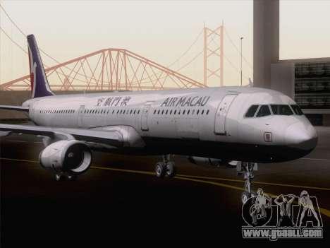 Airbus A321 Air Macau for GTA San Andreas back left view