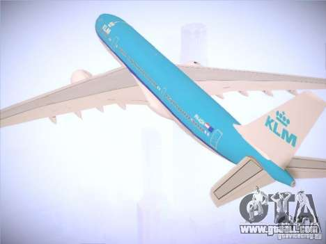 Airbus A330-200 KLM Royal Dutch Airlines for GTA San Andreas upper view