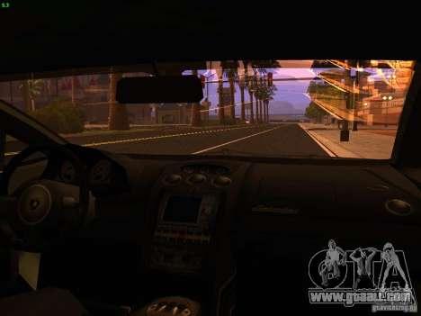 Lamborghini Gallardo Underground Racing for GTA San Andreas inner view