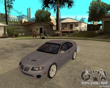 2005 Pontiac GTO for GTA San Andreas