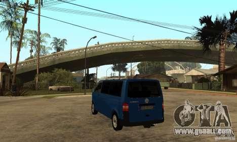 VW Transporter T5 2.5 TDI long for GTA San Andreas back left view
