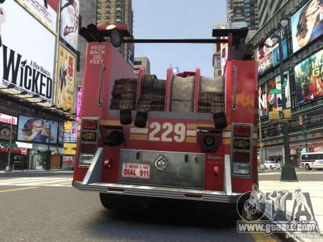 Fire Truck FDNY for GTA 4 right view