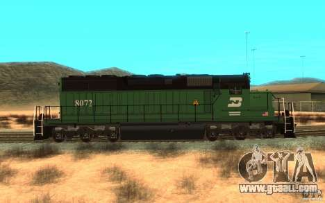 Locomotive SD 40 Burlington Northern 8072 for GTA San Andreas left view
