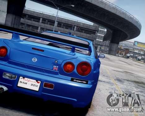 Nissan Skyline GT-R R34 Mspec for GTA 4 back view
