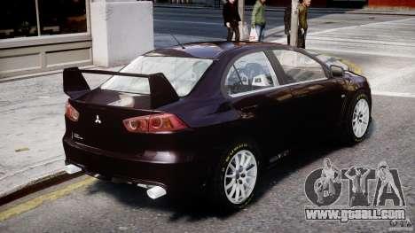 Mitsubishi Lancer X for GTA 4 back left view