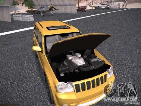 Jeep Grand Cherokee SRT8 for GTA San Andreas inner view