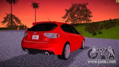 Subaru Impreza WRX STI (GRB) - LHD for GTA Vice City back left view