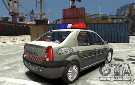 Dacia Logan Prestige Politie for GTA 4 right view