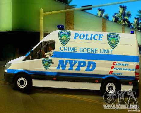 Mercedes Benz Sprinter NYPD police for GTA San Andreas left view