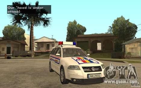 VW Passat B5+ Variant Politia Romana for GTA San Andreas back view