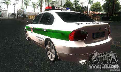 BMW 330 E90 Policija for GTA San Andreas back left view