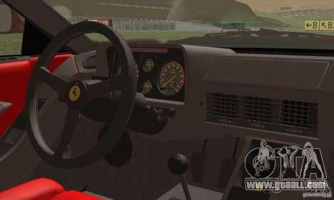 Ferrari Testarossa 1986 for GTA San Andreas inner view