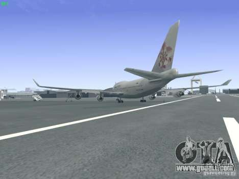 Boeing 747-400 China Airlines for GTA San Andreas back left view