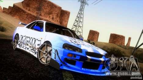 Nissan Skyline R34 Drift for GTA San Andreas wheels