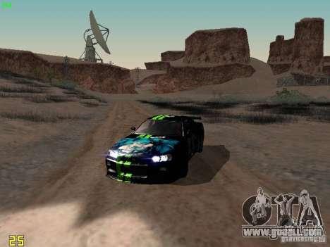 Nissan Skyline GT-R R34 V-Spec for GTA San Andreas inner view