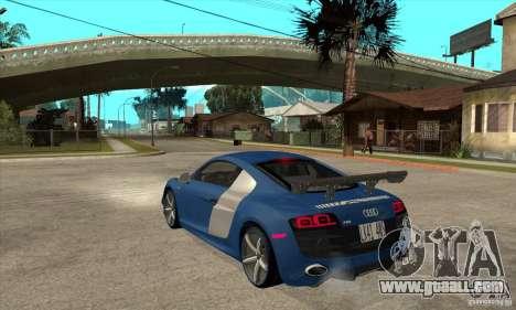 Audi R8 V10 v2 for GTA San Andreas back left view