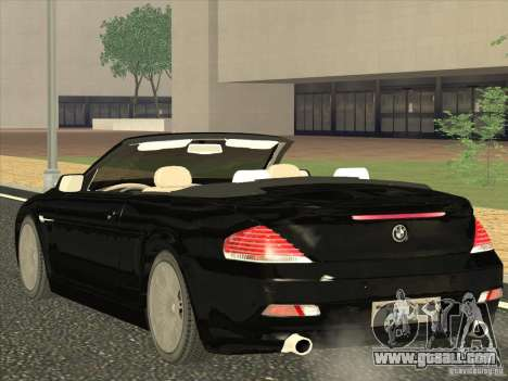 BMW 650I for GTA San Andreas back left view