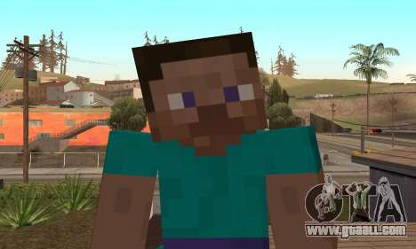 Steve from the game Minecraft skin for GTA San Andreas fifth screenshot