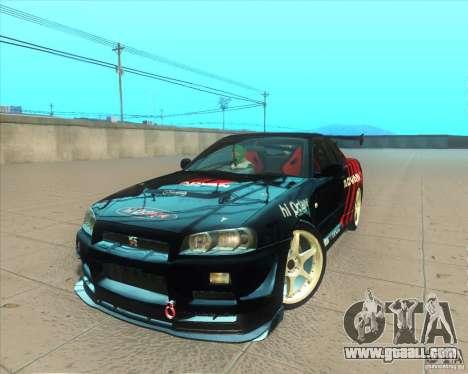 Nissan Skyline GT-R R34 M-Spec Nur for GTA San Andreas interior