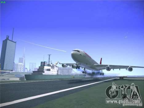 Airbus A340-300 Swiss International Airlines for GTA San Andreas upper view