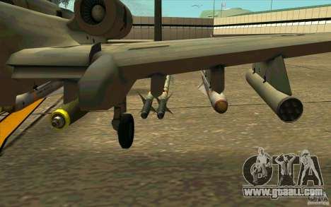 A-10 Warthog for GTA San Andreas back view