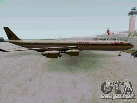 Airbus A-340-600 Quatar for GTA San Andreas left view