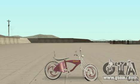 Lowrider Bicycle Custom Version for GTA San Andreas back left view