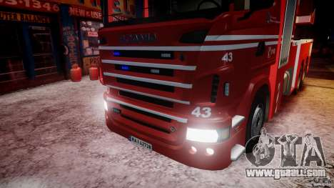 Scania Fire Ladder v1.1 Emerglights blue-red ELS for GTA 4 bottom view
