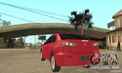 Mitsubishi Lancer for GTA San Andreas back left view