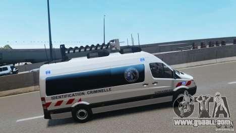 Mercedes-Benz Sprinter-Identification Criminelle for GTA 4 back left view