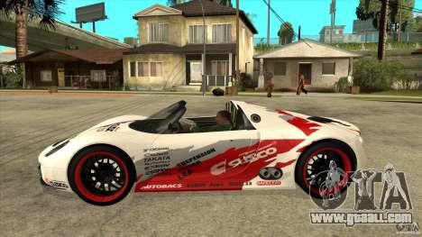 Porsche 918 Spyder Consept for GTA San Andreas left view