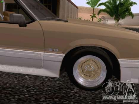 Ford Mustang GT 5.0 Convertible 1987 for GTA San Andreas back view