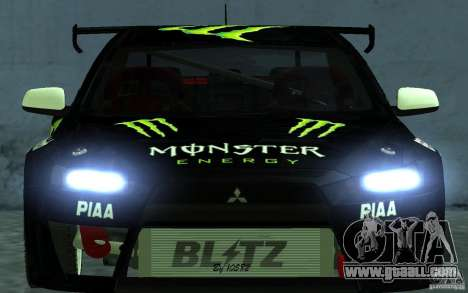 Mitsubishi Lancer Evolution X Monster Energy for GTA San Andreas right view