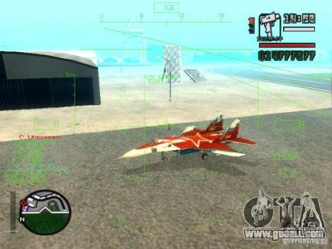 MIG 29 OVT for GTA San Andreas left view