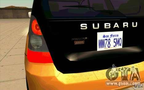 Subaru Forester Cross Sport 2005 for GTA San Andreas inner view