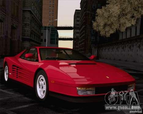 Ferrari Testarossa 1986 for GTA San Andreas back left view