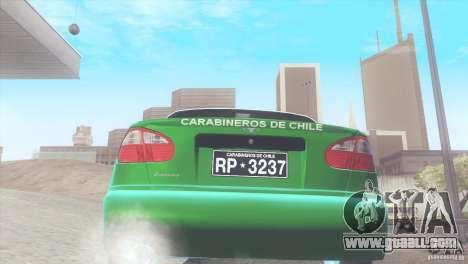 Daewoo Lanos De Carabineros De Chile for GTA San Andreas right view